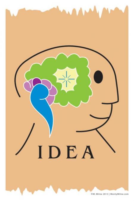 Cartoon outline of a head with a star inside the brain.