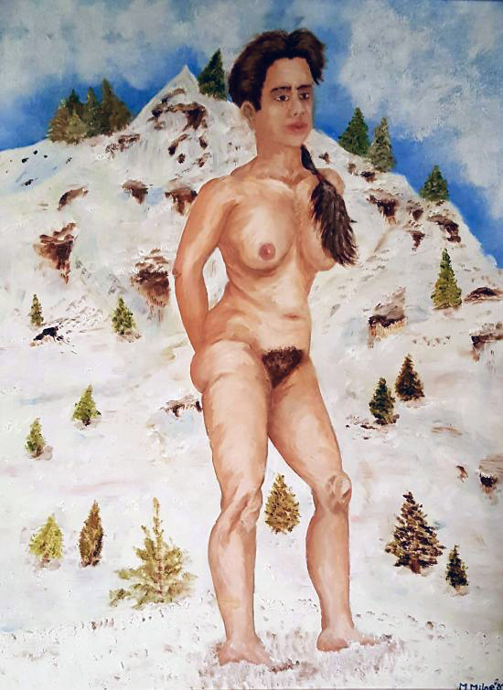 Nude female in front of a snowy mountain