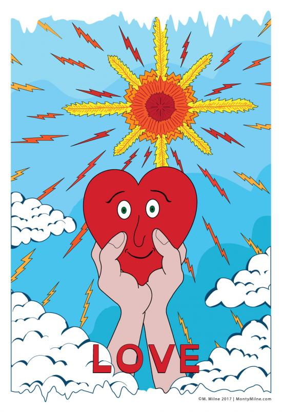 Hands lifting a red heart up to the sun