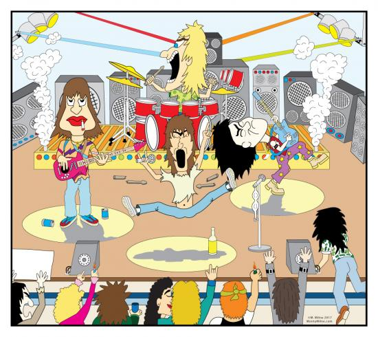 Cartoon rock band playing onstage in front of an audience