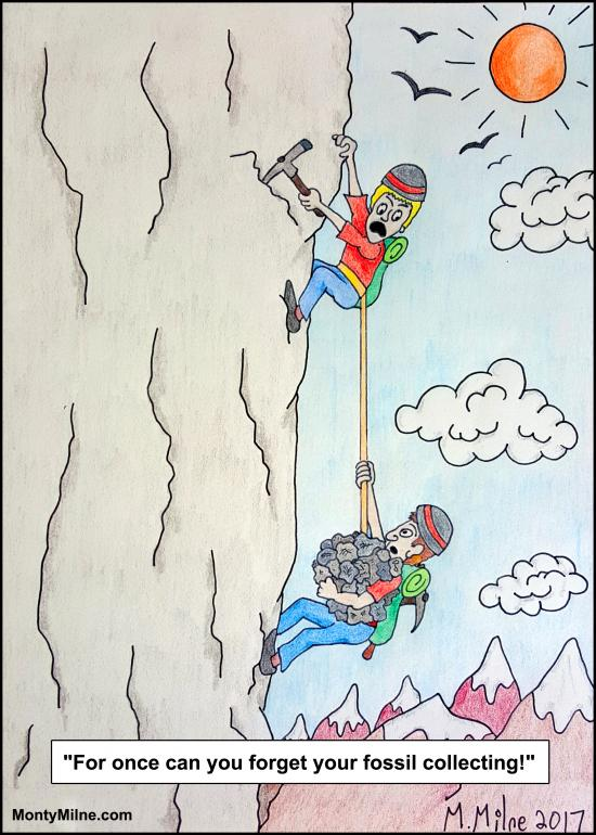 Cartoon of two men climbing rock climblng